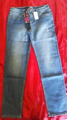 100% Vero Sandali Nuova L Donna Tacco Medio A-blu Jeans Tg 12-stile Boyfriend-