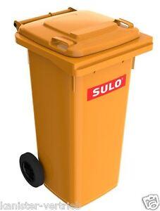 Futtertonne-Tierfutterbox-Behaelter-mit-Rollen-und-Klappe-120-Liter-orange-NEU