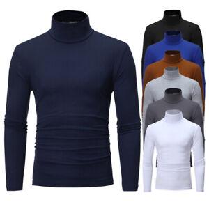 Sn-Uomo-Cotone-Caldo-collo-Alto-Pullover-Maglione-Dolcevita-Camicie-Basic-Tee