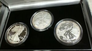 2006 W, P $1 20th Anniversary 3 Coin American Silver Eagle Set: PR, Rev PR, BR.1