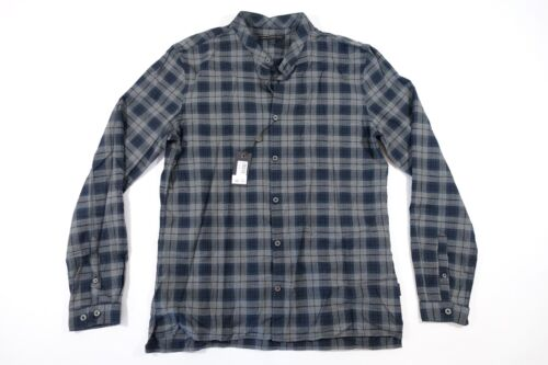 JOHN VARVATOS PLAID CHECK BLUE GRAY LARGE BAND COLLAR BUTTON FRONT SHIRT NWT