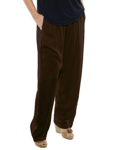 WeBeBop Women/'s Solid BROWN Crinkle Rayon Easy Pant 0X 1X 2X 3X 4X 5X 6X