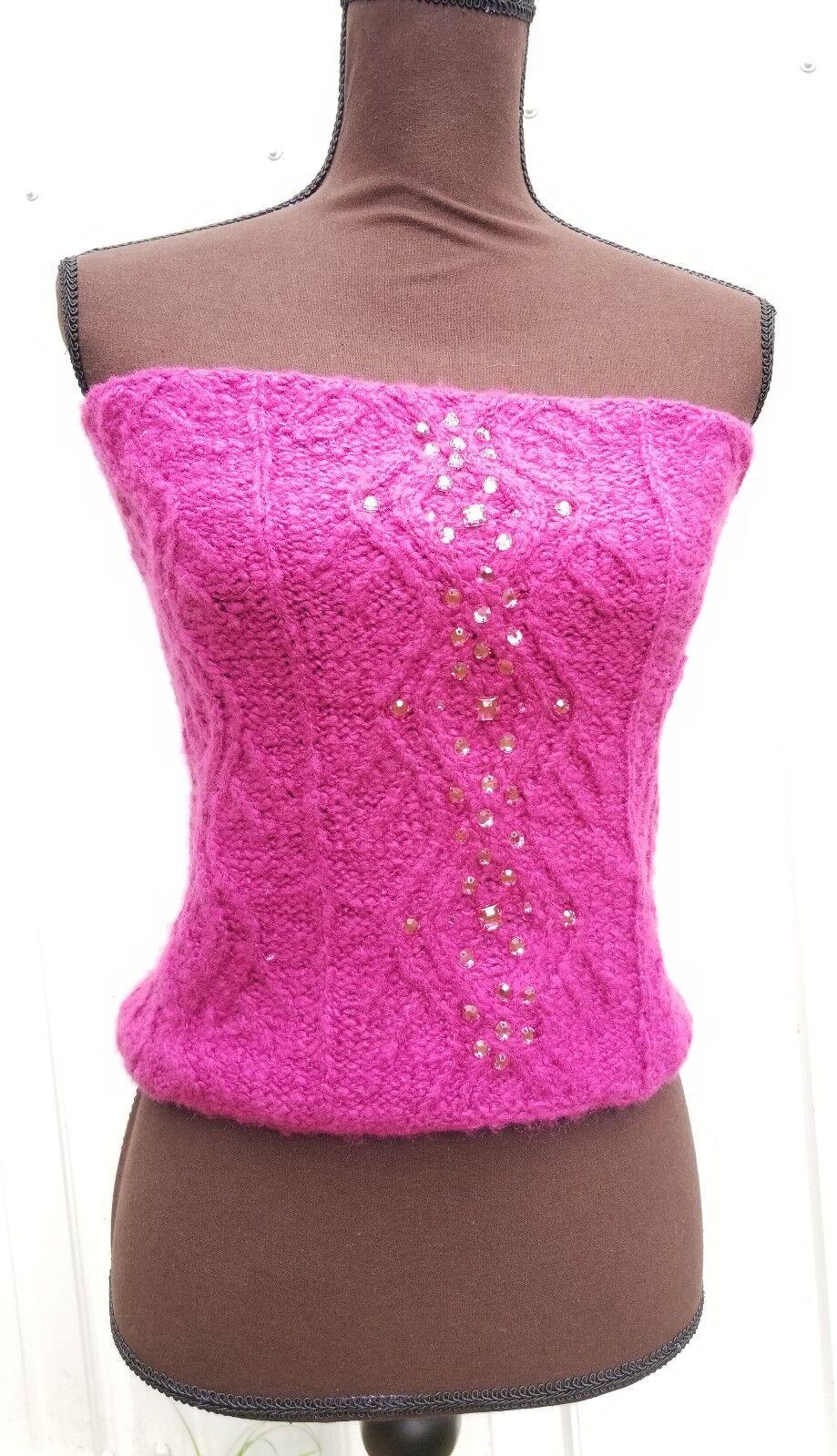 Betseyville Damenschuhe One Größe Fun Knit Glam Magenta Tube Top Strapless Rare Unique