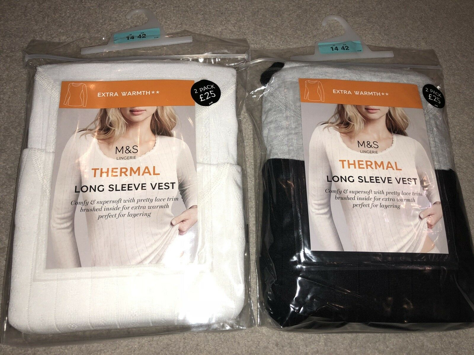 Ladies Extra Warmth Long Sleeve Thermal Vests x4 14