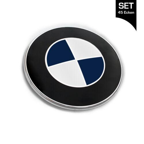 Nachtblau Emblem Autocollants Coins Pour Tous BMW Voitures 45 coins