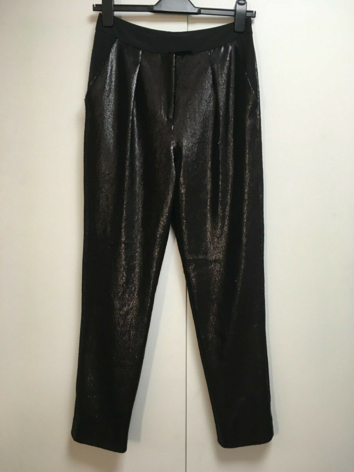 NEW Whistles schwarz sequin trousers stretchy taperot evening pockets 8