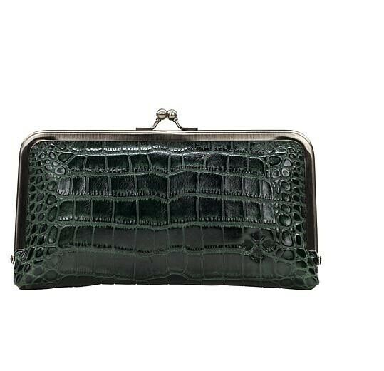 Patricia Nash Frame Everly Dark Green Croco Leather Wallet Kisslock New
