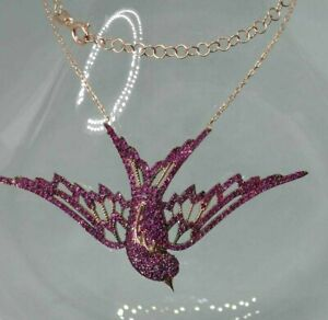 925-Silver-AAA-Quality-Jewelry-Micro-Pave-Pinkish-Ruby-SWALLOW-Pendant-Necklace