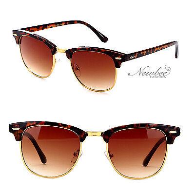 Half Frame Clubmaster Style Sunglasses Vintage Retro Many Color Styles Frame