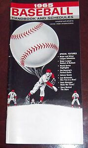 Baseball handbook and schedules 1965 Roberto Clemente Willie Mays Sandy Koufax