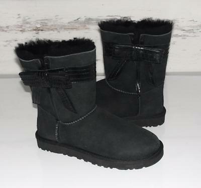 UGG~NWOB~BLACK~SUEDE *JOSETTE* SHEARLING FUR~LEATHER BOW ACCENT BOOTS~7~RARE