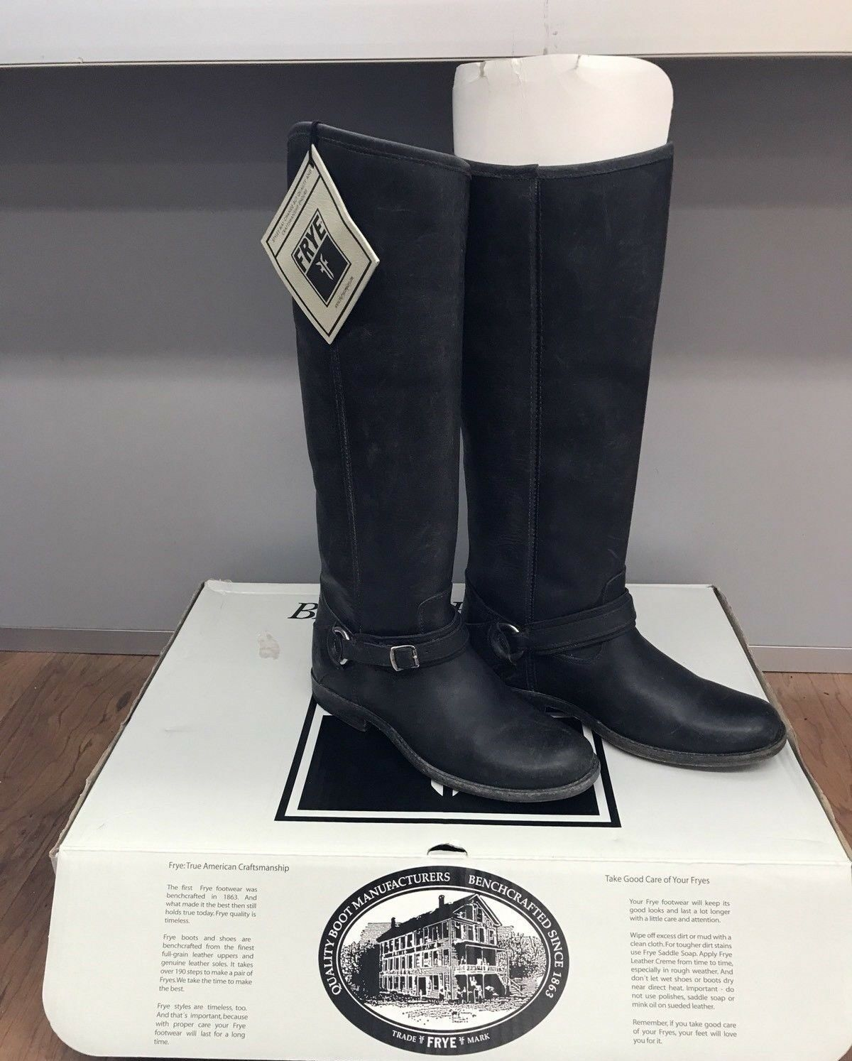 FRYE Women's Phillip Ring Tall Boot - Black Sz 8 $468
