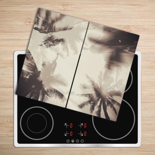 Glas-Herdabdeckplatte Ceranfeldabdeckung Zweiteilig 2x30x52 Palmen