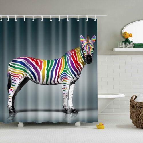 """Animal de cebra blanco negro Cuadrado & Tela Cortina de ducha decoración de baño Set 71/"""""""