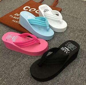 aab53cfe31b High Heel Women Wedge Flip Flops Thick Platform Slippers Thong ...