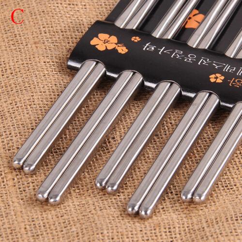 Chopsticks 5Pairs Metal Reusable Korean Chinese Stainless Steel Chopsticks  WD