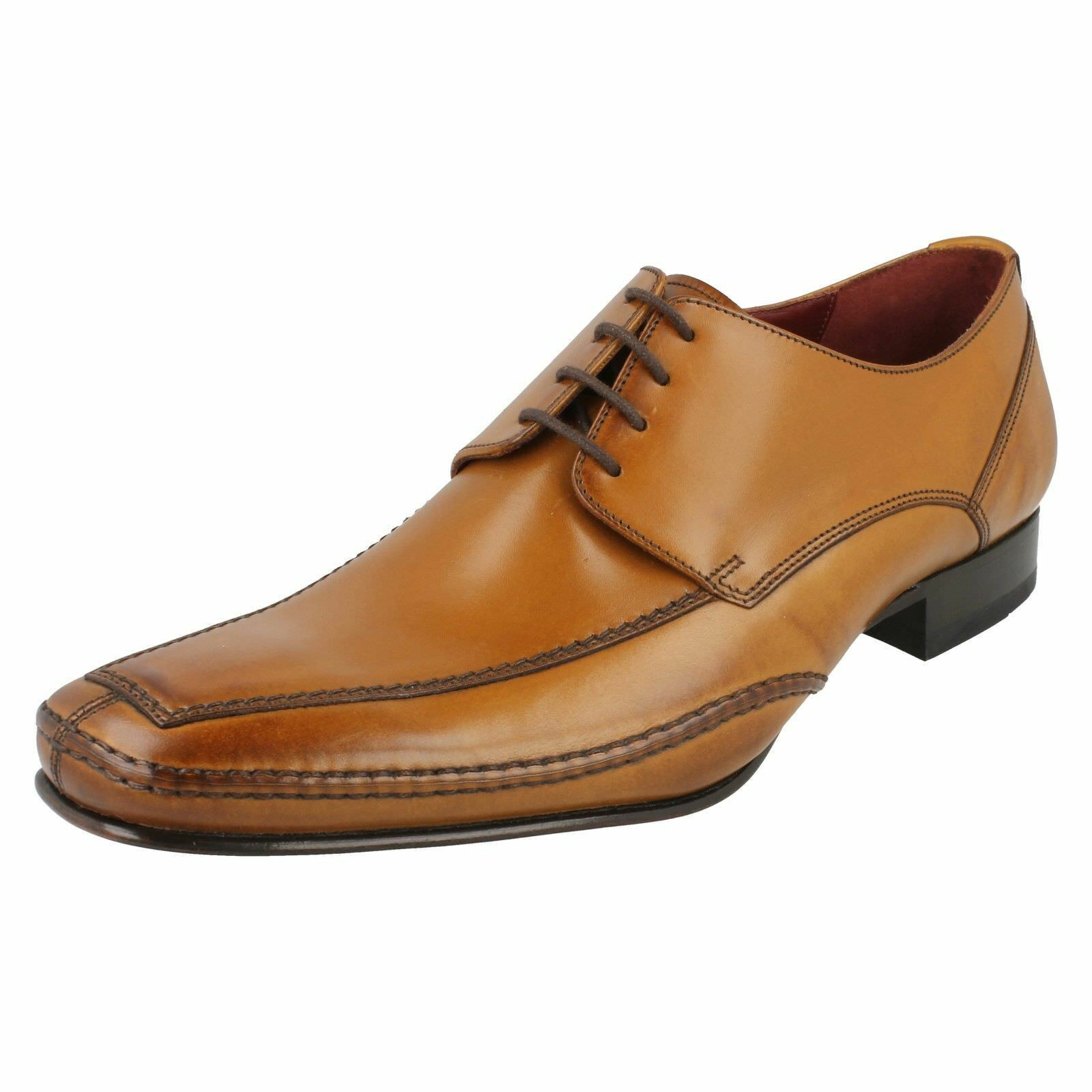 men Loake brown Leather shoes con Lacci Hurst brown Calzata F