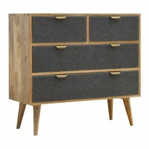 Details About Mid Century Modern Style Chest Of Drawers Solid Wood Grey Wool