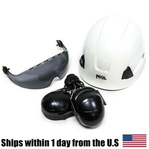 Arborist Petzl Vertex Best White Helmet Visor Ear Muffs Kit A10BBC A15AS