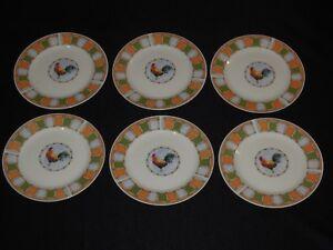 Set-of-6-Oneida-Oneidacraft-ROOSTER-PATCH-7-034-Salad-Plates
