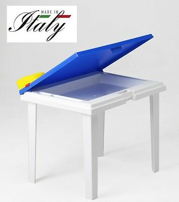 Tavolino Tavolo Scrivania Bambino Aladino - Colore Azzurro Made In Italy Alta Sicurezza