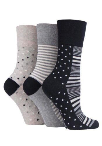 NEW variations 3 pairs Ladies SockShop Cotton Gentle Grip 4-8 uk Socks