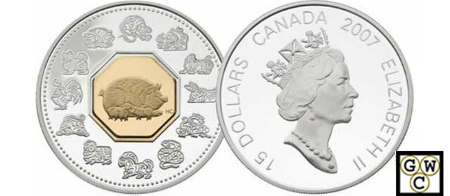 2007 Year of the Pig $15 Proof Silver Coin (12009)