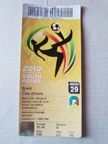 Used Sammler Ticket FIFA World Cup 2010 #29 Brazil Ivory Coast Brasilien