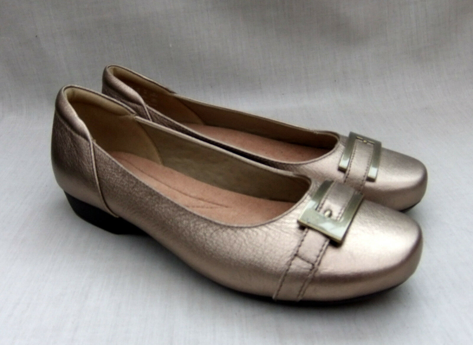 NEW CLARKS BLANCHE WEST femmes or METALLIC LEATHER chaussures Taille 5   38
