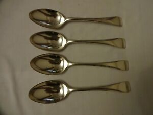 Vintage-Old-English-Dessert-Spoons-Silver-Plated-x-4-D-amp-A-Sheffield-18-cm