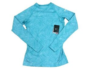 Details zu Nike 438581 Womens Pro Combat Dri Fit Base Layer Fitted Long Sleeve Shirt, Blue