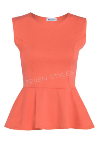 LADIES SLEEVELESS PLAIN PEPLUM FRILL FLARED PLUS SIZE MINI PATRY DRESS TOP 8-22