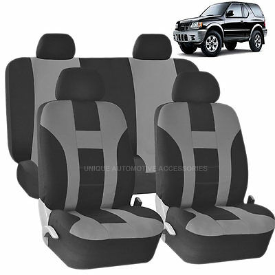 GRAY & BLACK DOUBLE STITCH SEAT COVERS 8PC SET for ISUZU TROOPER RODEO