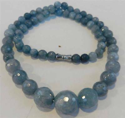 6-14mm Brazilian Aquamarine Faceted Gems Round Beads Necklace 18""