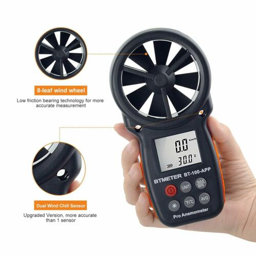 Flügelrad Anemometer LCD Digital Windmesser Anemometer Windmessgerät With APP