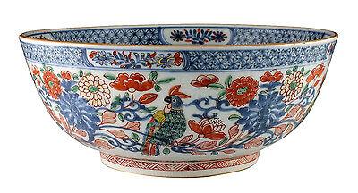 Large Antique Chinese Export Porcelain Bowl w/ Enamel Painted Birds & Flowers