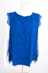 New-York-amp-Company-Women-039-s-Blouse-Fringe-Shirt-XL-Royal-Blue-Lace-Sleeveless-NWT