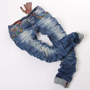 Jeans-Hosen-Damen-Roehrenjeans-Hueftjeans-used-Damenjeans-blau-Neu-XS-S-M-L-XL