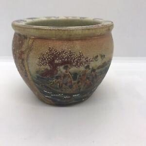 Vintage Japanese Satsuma Hand painted Fish Bowl Planter With Moriage Beautiful.