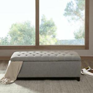 Luxury Shandra Grey Tufted Top Storage Bench With Rich Wooden Legs Ebay