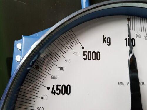 NEU XXL PROFI MWT INDUSTRIE KRANWAAGE FEDERWAAGE ANALOG 5000kg d=40cm BUNDESWEHR
