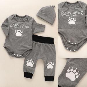 3PCS-Newborn-Infant-Baby-Boys-Romper-Bodysuit-Tops-Pants-Hat-Clothes-Outfits-Set