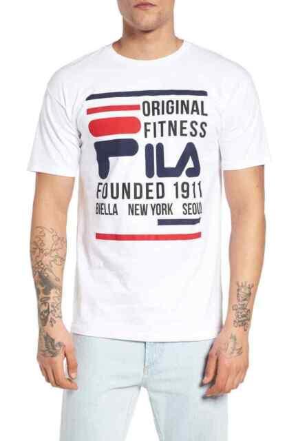Fila Mens T-Shirt Classic White Size 2XL Fitness Graphic Logo Tee $25- #239