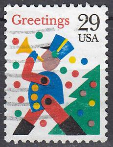 Estados unidos sello con sello 29c Greetings personaje trompeta firmemente celebrar/3408