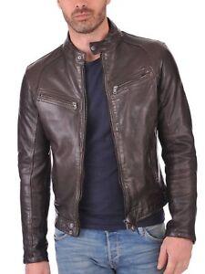 New-Men-039-s-100-Genuine-Lambskin-Leather-Jacket-Brown-Biker-Moto-Cafe-Racer-Coat