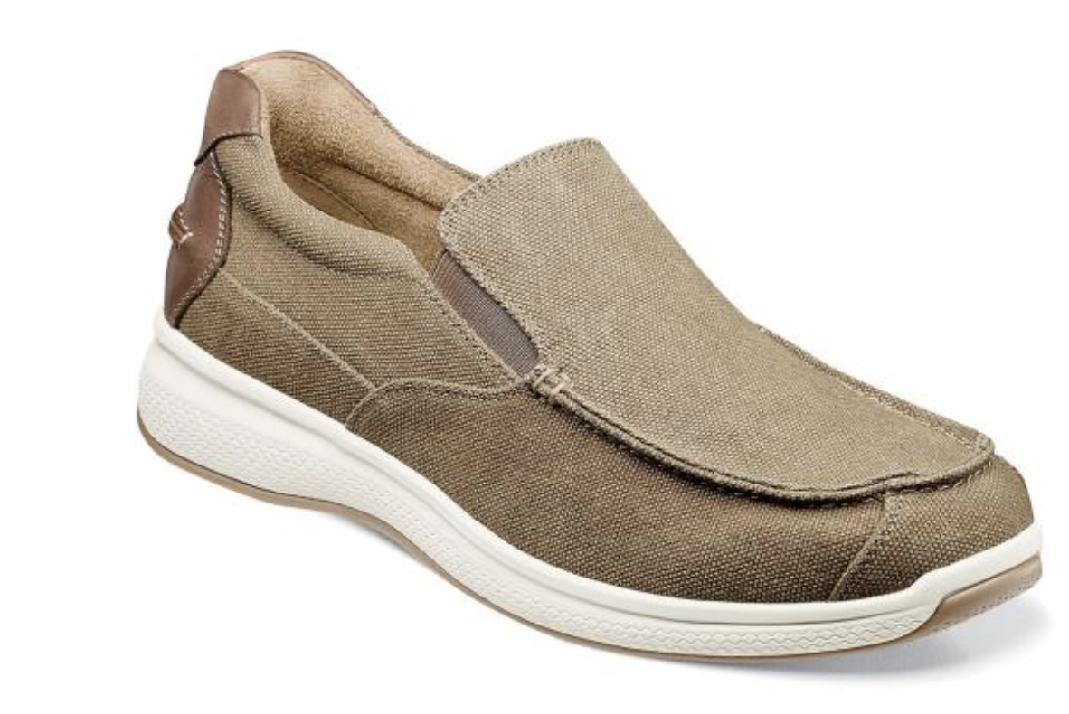 Florsheim Chaussures Great Lakes toile Moc Toe Slip On Sand 13327-269