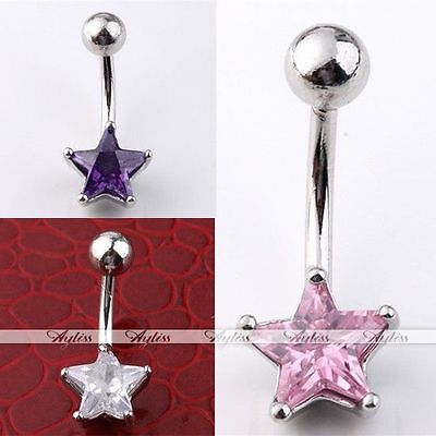 Punk 14G Star CZ Gem Stainless Steel Belly Navel Ring Curved Bars Body Piercing