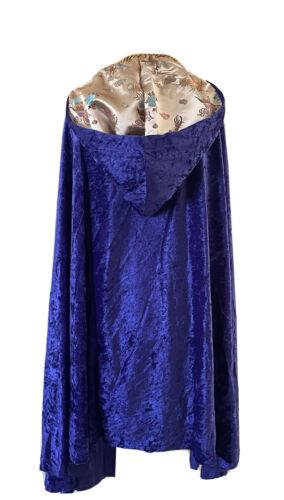 Medieval Renaissance Purple Gold Velvet Satin Hood