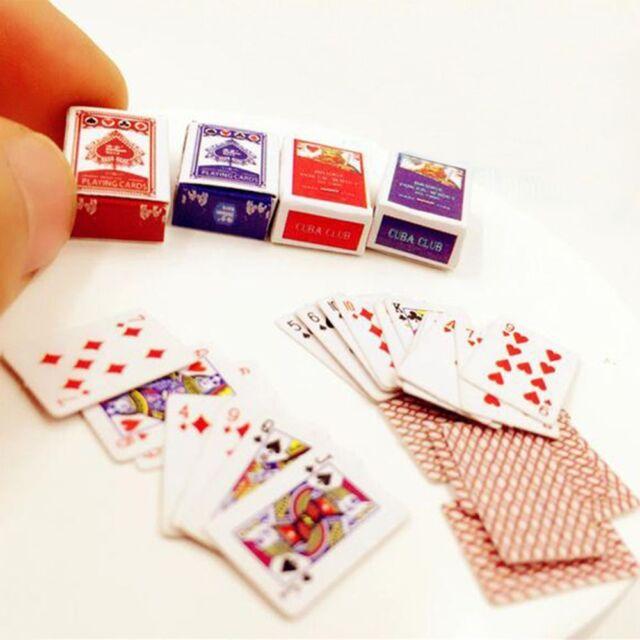 54pcs Miniature Poker Mini 1:12 Dollhouse Playing Cards Doll House Mini Poker