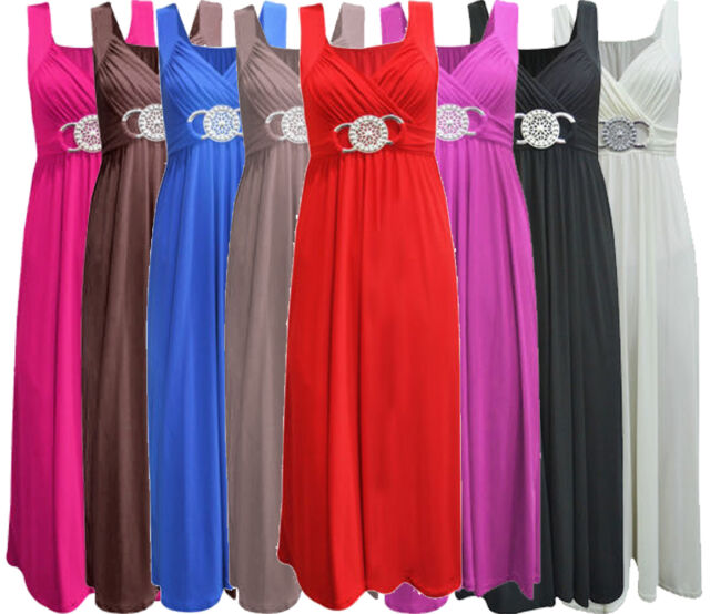 Womens Plus Size Buckle Waisted Tie Back Evening Long Maxi Dress 16-26